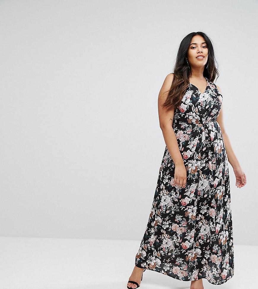 Uttam Boutqiue Plus Floral Print Maxi Dress With Lace Trim