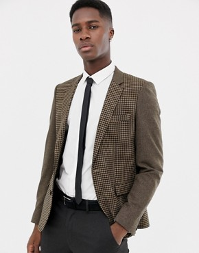 ASOS DESIGN slim blazer in wool mix with tan cut and sew check - Tan