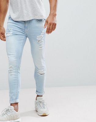 11 Degrees Muscle Fit Jeans In Blue With Distressing