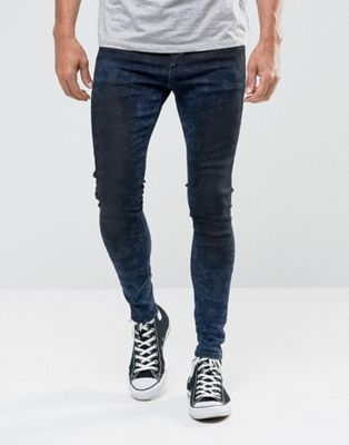 11 Degrees Muscle Fit Jeans In Midwash Blue With Black Fade