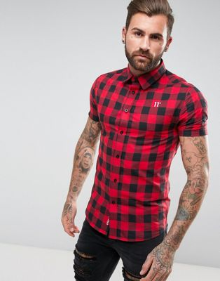 11 Degrees Muscle Shirt In Red Gingham Check