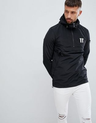 11 Degrees Overhead Windbreaker Jacket In Black