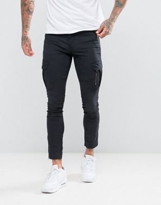 11 Degrees Skinny Cargo Joggers In Black