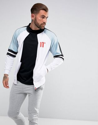 11 Degrees Track Jacket In White With Blue Panels