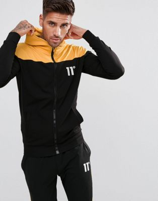 11 Degrees Track Zip Through Hoodie In Black
