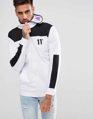 Image 1 of 11 Degrees Track Zip Through Hoodie In White