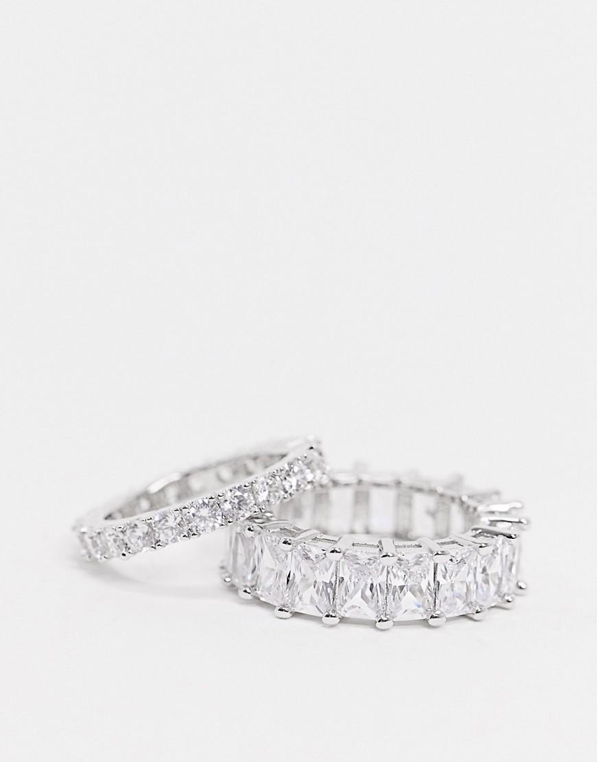 2 посеребренных кольца с камнями Image Gang-Серебряный