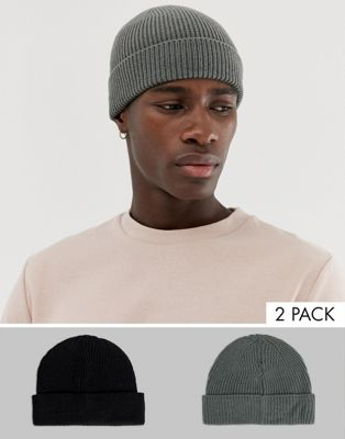 2 шапки-бини (черная, серая) ASOS DESIGN - Скидка