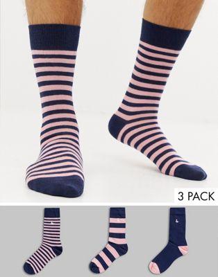 3 пары носков в полоску темно-синего/розового цвета Jack Wills Haddlesden