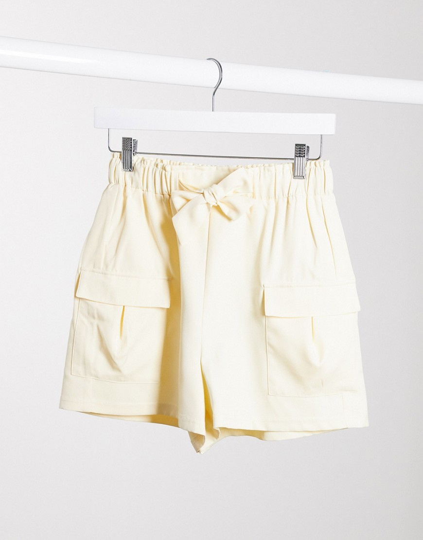 4th + Reckless - Cremefarvede skræddersyede utility-shorts