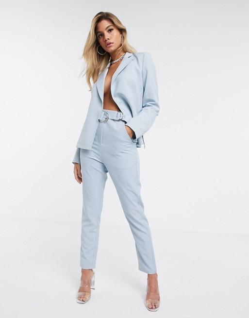 4th + Reckless - Pantalon de tailleur avec boucle sur le côté -Bleu pâle