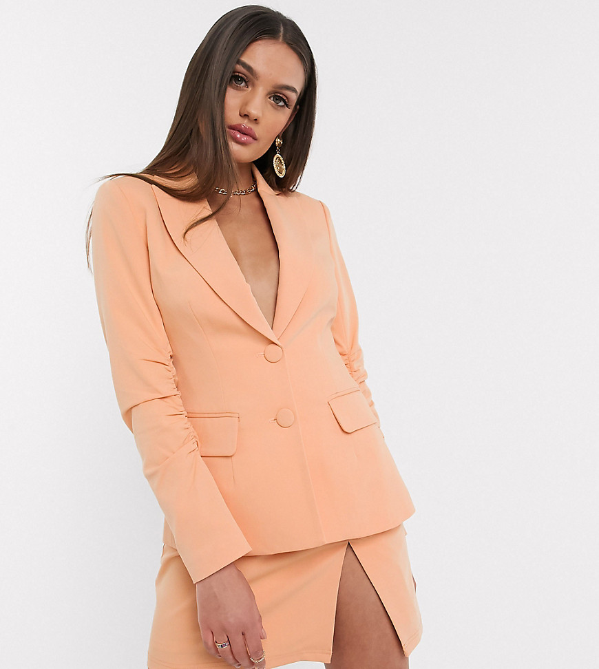 4th + Reckless Petite - Exclusive - Ferskenfarvet rynket blazer-Orange