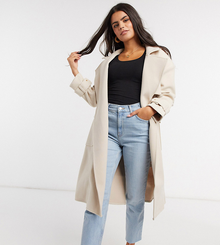 4th + Reckless Petite - Stenfarvet trenchcoat-Creme