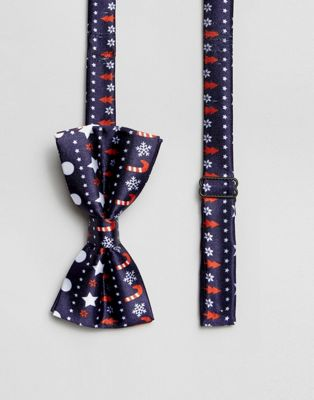 Image 1 of 7X Christmas Fairisle Print Bow Tie