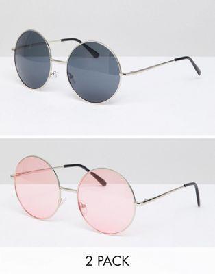 7X - Lot de 2 lunettes de soleil rondes à verre teinté