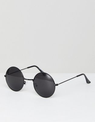 7x Round Sunglasses In Black Lens