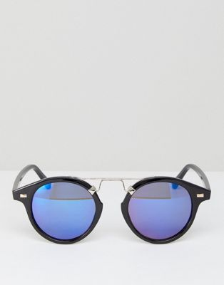 7x Round Sunglasses With Blue Mirror Lens