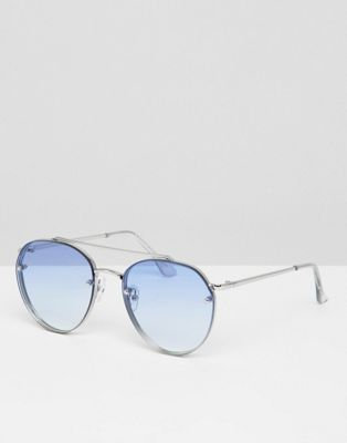 7x Round Sunglasses With Blue Ombre Lens