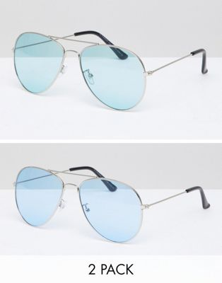 7x Two Pack Aviator Sunglasses