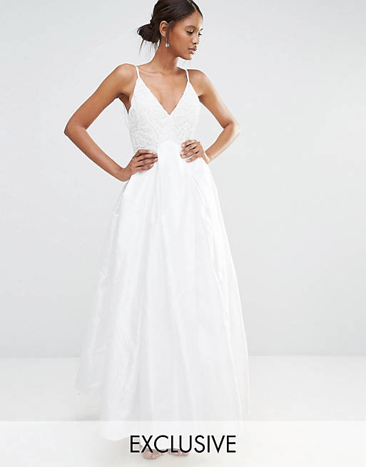A Star Is Born Embellished Cami Strap Pleat Detail Maxi Dress