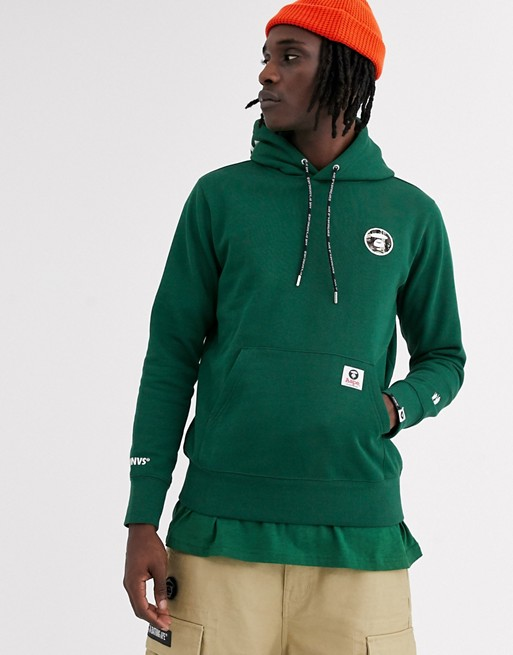 AAPE By A Bathing Ape One Point embroidered logo hoodie in green