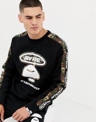 AAPE By A Bathing Ape Sweatshirt With Logo Taping In Black