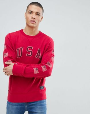 Abercrombie & Fitch americana usa logo crew neck sweatshirt in red