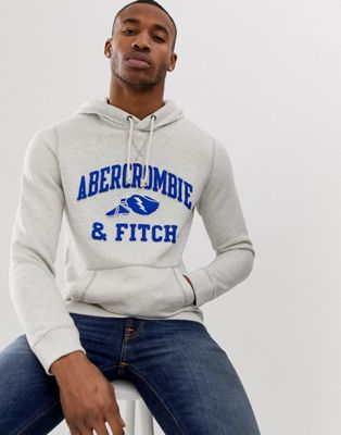 Image 1 of Abercrombie & Fitch athletic club logo hoodie in grey