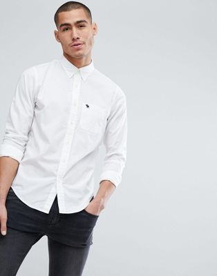 Image 1 of Abercrombie & Fitch core poplin shirt slim fit icon logo in white