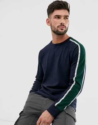 Abercrombie & Fitch logo taping long sleeve top in navy