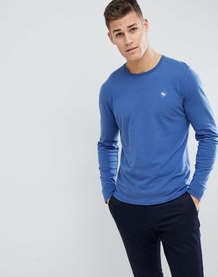 Abercrombie & Fitch Long Sleeve T-Shirt with Moose Logo in Blue