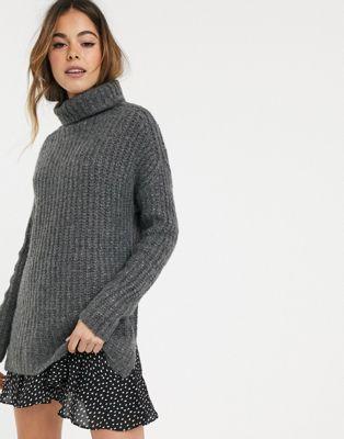 Abercrombie & Fitch – Mysig tröja i longline-modell med hög krage