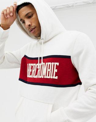 Abercrombie & Fitch – Vit och röd huvtröja med rand och logga på bröstet