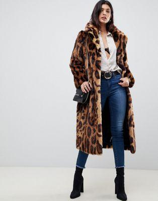 Abrigo largo de piel sintética con estampado de leopardo de ASOS DESIGN