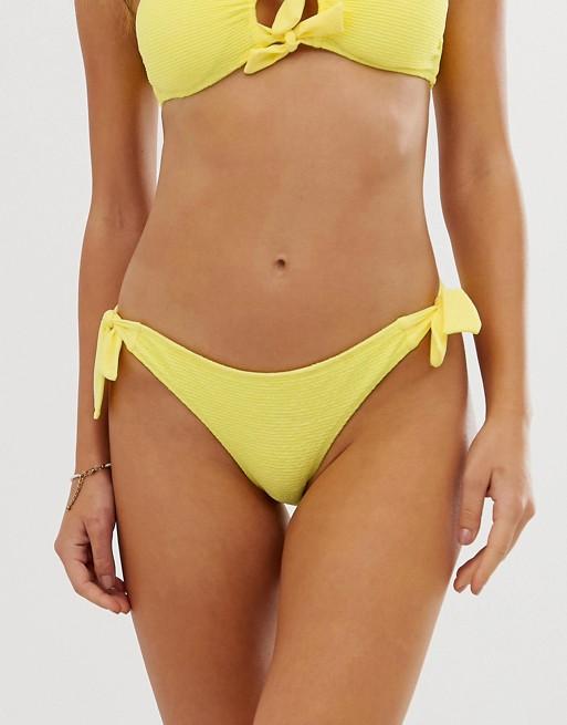 Accessorize - Bas de bikini avec nœud sur le côté - Jaune