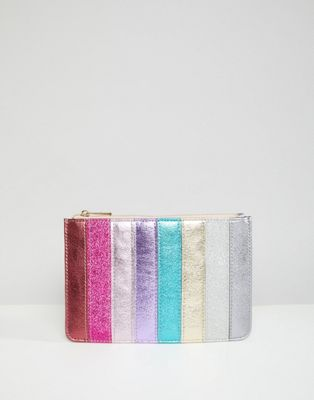 Image 1 of Accessorize rainbow glitter stripe coin purse