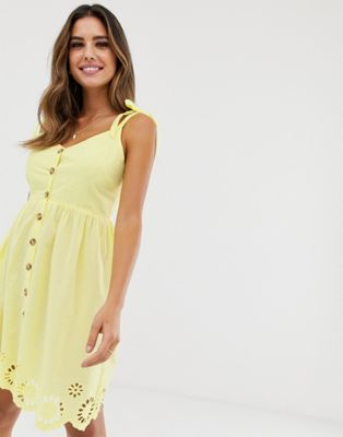 Bild 1 von Accessorize – Sarah – Gelbes Strandkleid mit Trägern und Knöpfen