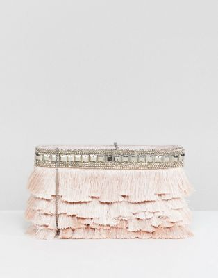 Accessorize Siena fringe ziptop clutch
