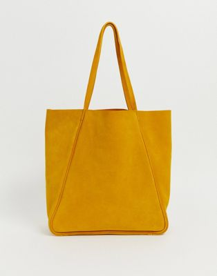 Accessorzie Ochre Yellow Leather Minimal Tote Per Bag