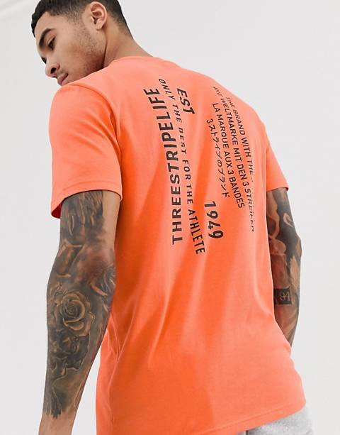 adidas Athletics logo t-shirt with back print in orange
