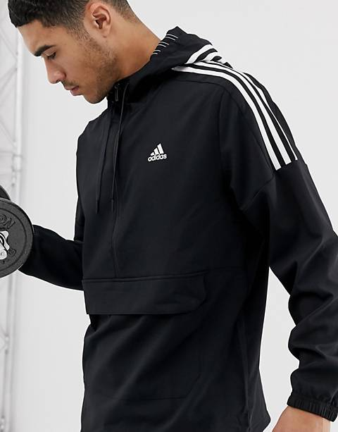 Adidas Athletics three stripe hoodie in black