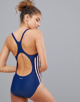 Image 1 sur adidas - Maillot 1 pièce à trois bandes - Bleu