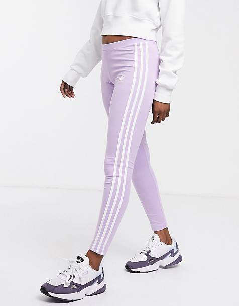 adidas Originals 3 stripe leggings in purple