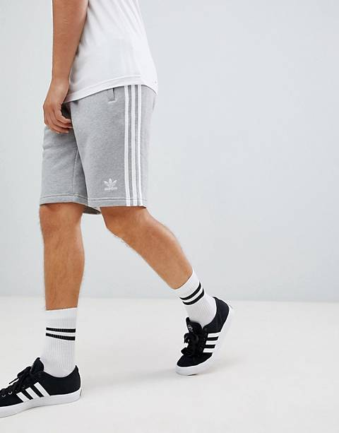 adidas Originals 3 Stripe Shorts in gray