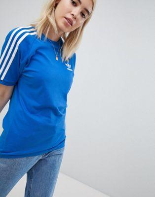 adidas Originals 3 Stripe T-Shirt In Blue