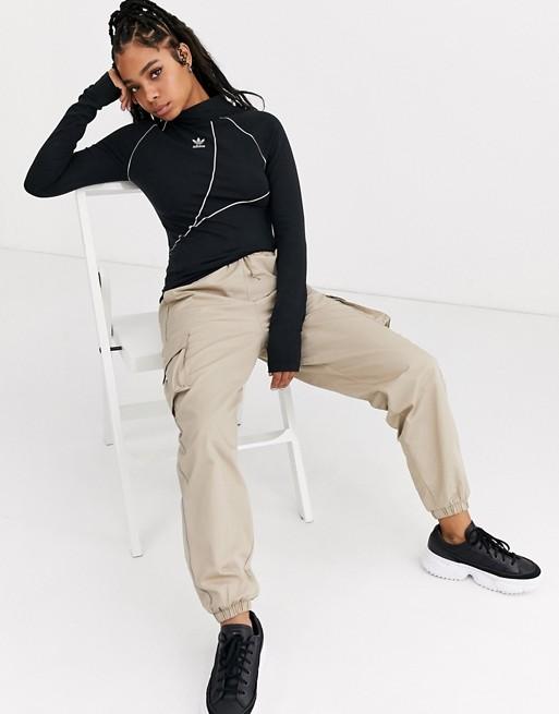 adidas Originals – A2K – Langärmliges Oberteil in Schwarz mit hohem Kragen und Dreiblatt-Logo
