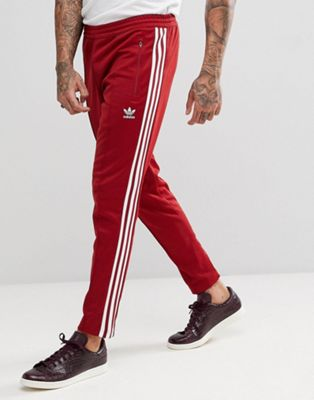 adidas Originals adicolor Beckenbauer Joggers In Skinny Fit In Burgundy CW1270