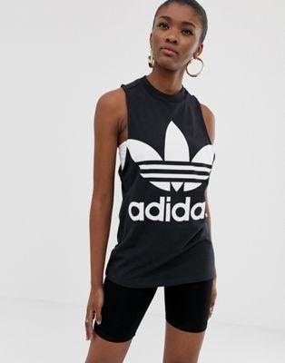 Image 1 of Adidas Originals adicolor big trefoil tank top in black