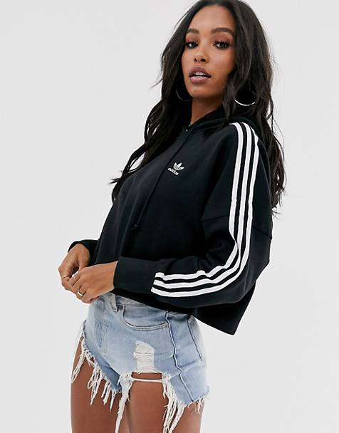 adidas Originals adicolor cropped hoodie in black