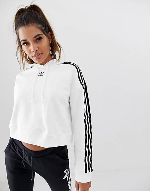 adidas Originals adicolor cropped hættetrøje i hvid
